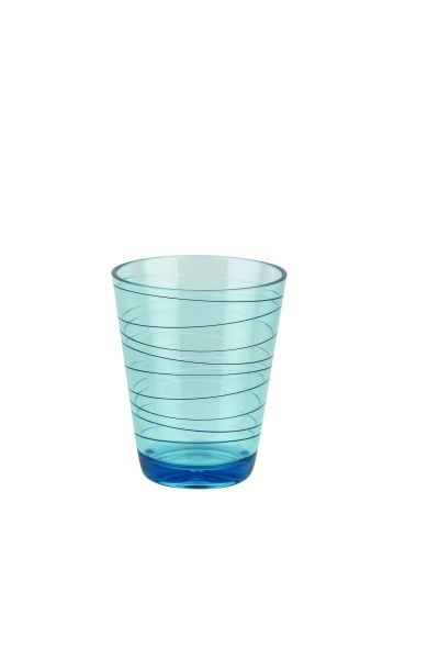 Wasser Glas, Retro Stripes, 2-er Set green & blue