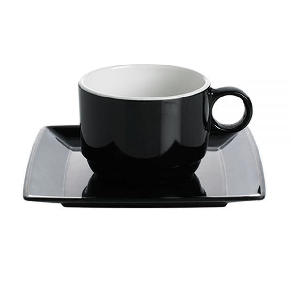 4 tlg. Set, 2x Tasse + Untertasse, Quadrato Black & White | Black ...
