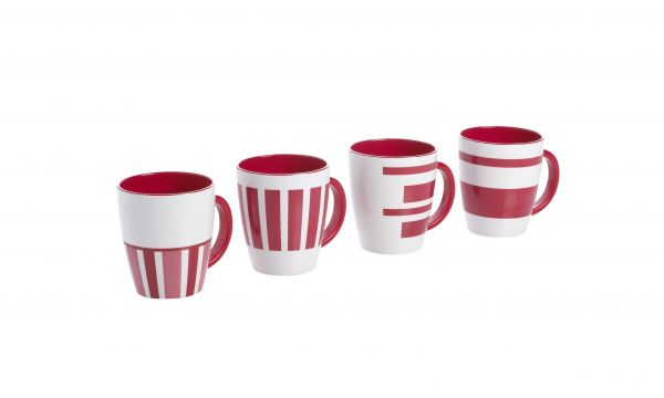 4 tlg. Set Henkelbecher, Classic Line Twist red