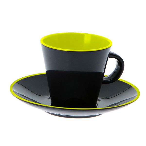 4 tlg. Set Espresso, Grey Line lime