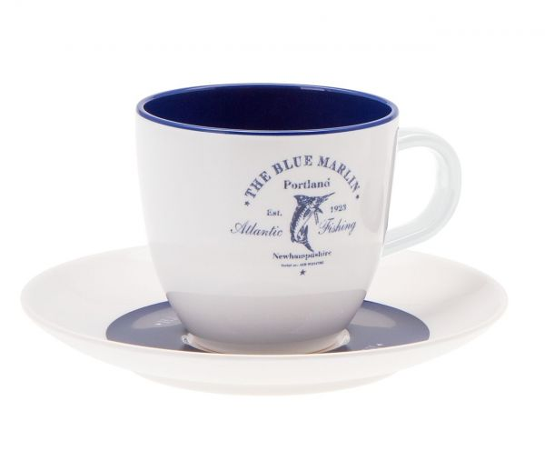 4 tlg. Set, 2x Tasse + Untertasse, Blue Marlin