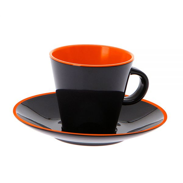 4 tlg. Set Espresso, Grey Line orange